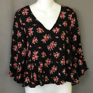 Divided Blouse Black Floral Red Bell Sleeve Flare